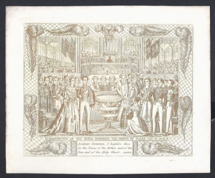 Gold Etching Baptism of the Prince of Wales 1842 Later King Edward VII